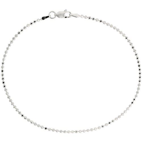 Sterling Silver Italian Faceted Pallini Bead Ball Chain Necklaces & Bracelets 1.8mm Nickel Free, sizes 18 - 76 CM Long