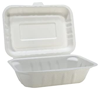 "IFN Green 29-2000 Fiber Bagasse Clamshell, 7.1"" Length x 5.5"" Width x 2.5"" Height (Case of 600)"
