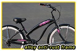 Anti-Rust Aluminum frame, Fito Modena EX Alloy 7-speed women's Metallic Black/pink, Shimano Equipped Beach Cruiser Bike Bicycle Micargi Schwinn Firmstrong Nirve Style