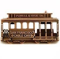 San Francisco Cable Car Metal Magnet Copper Color Nice Large Size 2.5' x 1.5' Solid !