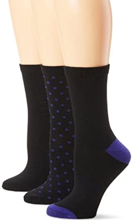 Nine West Women's 3 Pack Dot Tipped Solid Crew Socks, Black Combo, One Size
