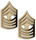 Marine Corps Master Gunnery Sergeant 22K Gold Finish Collar Device Rank Insignia Pair
