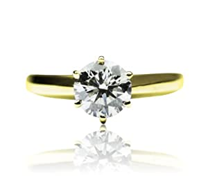 5.00 Ct. Round Diamond Solitaire Ring D,I (14K Yellow gold)