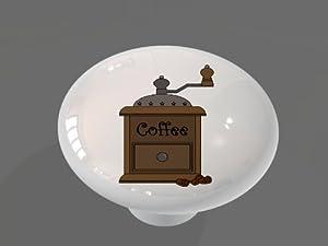 Old Fashioned Coffee Grinder High Gloss Ceramic Drawer Knob