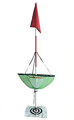 Height Adjustable Golf Chipping Net with Golf Flagstick Chipper for Backyard Outdoor Pitching and Chipping Portable Practice with Target and Red Flag