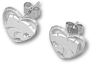 Kansas State Wildcats Small Powercat Heart Post Earrings - Sterling Silver Jewelry by Logo Art