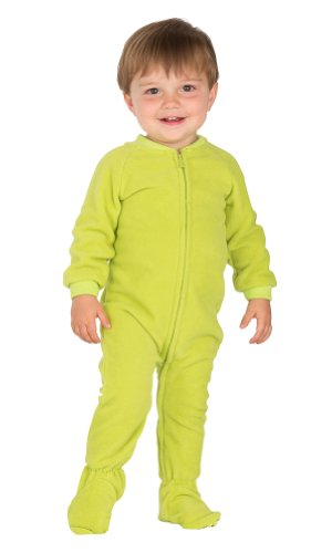 Footed Pajamas Lime Green Infant Fleece - Large front-61277