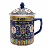 Asian Porcelain Mug for Tea or Coffee with Lid - Beautiful Blue w/Red Calligraphy ~ bamboo gifts