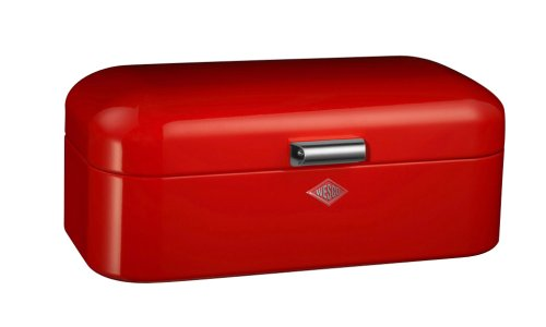 Wesco Grandy Powder Coated Steel Bread Bin, Red
