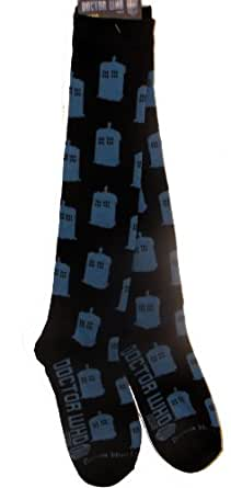 Doctor Who Tardis All Over Ladies Knee High Socks, size 4-10