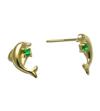 14K Yellow DOLPHIN BABY SCREW Earring (green)