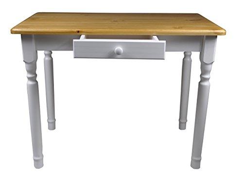 Esstisch-mit-Schublade-Kchentisch-Tisch-Massiv-Kiefer-100-x-60-cm-Erle