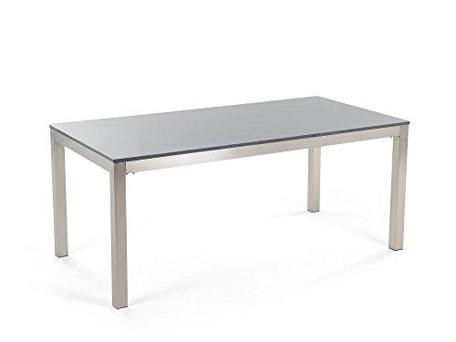 Edelstahltisch grau poliert 180 cm single for Gartentisch granitplatte