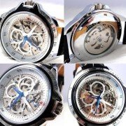 Xmas Gfit WINNER Automatic Mens Leather Band Skeleton Mechanical Sport Wrist Watch