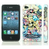 Textured Death Glory Design Ed Hardy Hard Case Back Cover For Iphone 4 4S