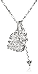 Sterling Silver Diamond Double Heart and Arrow Pendant Necklace (1/10 cttw, I-J Color, I2-I3 Clarity), 18""