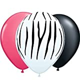 "11"" Zebra Print with Black & Pink Balloons 12pk"