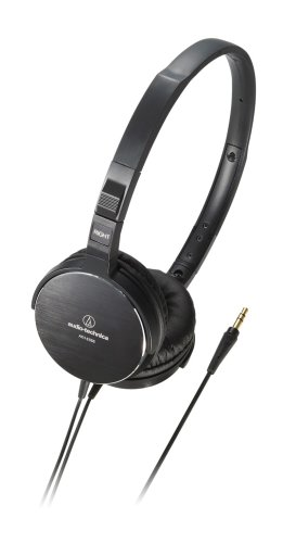 Audio Technica Ath-Es55Bk Sleek Portable On-Ear Headphones With Aluminum Housing