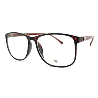 Large Rectangular Glasses Frame : Amazon.com: Burgundy Large Rectangular Thin Plastic Frame ...