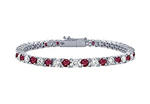 Ruby and Diamond Tennis Bracelet : Platinum - 5.00 CT TGW