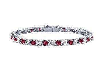 Ruby and Diamond Tennis Bracelet Platinum - 5.00 CT TGW