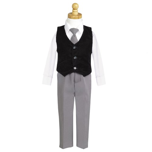 Lito Black Velvet Vest Special Occasion Christmas 3pc Suit Set Boy 6M-7
