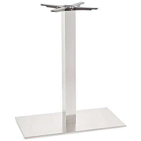 Table leg with rectangular base POULI brushed metal (brushed metal)