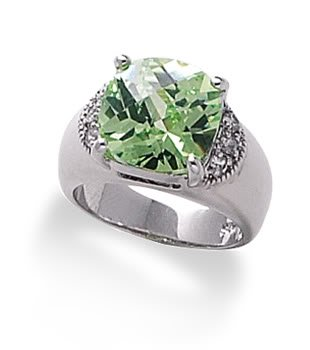 Sterling Silver Rhodium Plated Soft Square Yellow/Green CZ Ring / Size 9