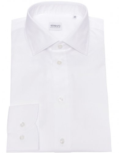 Armani Collezioni Men's Shirt White Formal Cotton UK 16.5