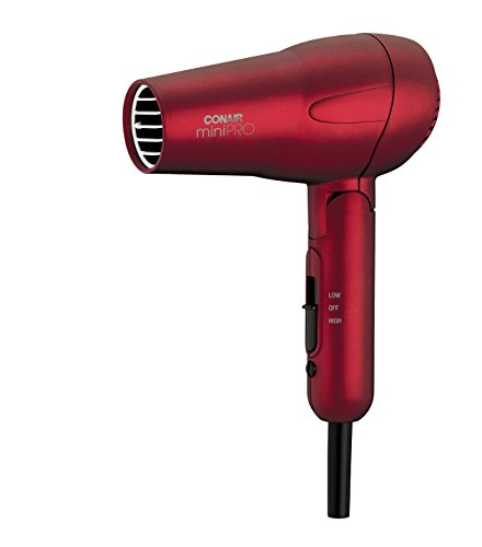 Conair MiniPRO Folding Handle Tourmaline Ceramic Styler and Hair Dryer, Red (Hair Dryer Ceramic Travel compare prices)