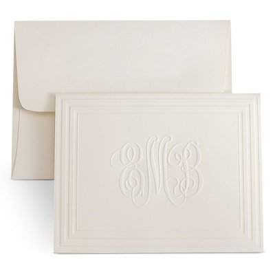 Personalized Classic Picture Frame Monogram Note Cards front-659591
