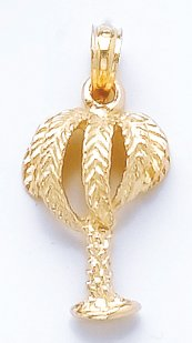 14K Gold Nautical Necklace Charm Pendant, Palm Tree With Full Leaves
