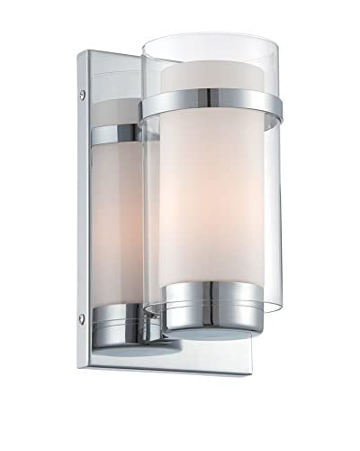 Lite Source Tulio Wall Sconce, Chrome/Clear