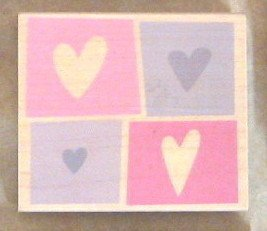 Four Hearts Block Wood Mounted Rubber Stamp (H2921)