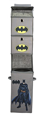 Modern Littles Batman Closet Hanging Organizer - 2 Storage Compartments, 1 Removable Laundry Bin - 10.5 Inches x 10.5 Inches x 52.5 Inches - Gray
