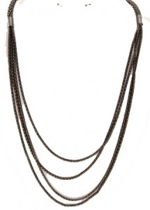 Four Strand Cord Necklace Hematite