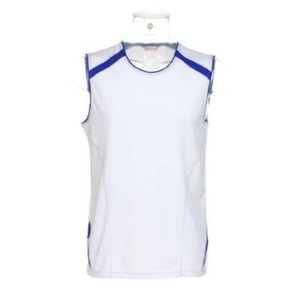 Gamegear® Cooltex® Sleeveless Sports Vest Top / Mens Sportswear (2XL) (White/Royal)