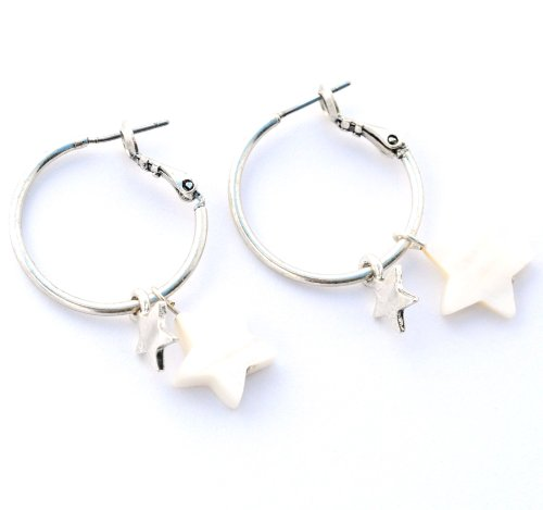 Designer Jewellery - A&C Silver & Mother of Pearl Creole Star Earrings