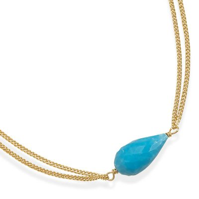 16 Inch+2 Inch Double Strand 14 Karat Gold Plated And Created Turquoise Necklace - JewelryWeb