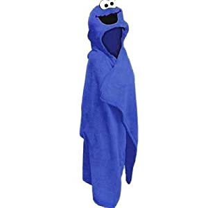 Sesame Street Cookie Monster Kids Hooded Blanket Blue