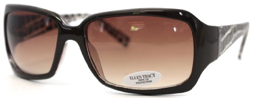 Ellen Tracy Sunglass Brown Plastic Modified Rectangle, Gradi