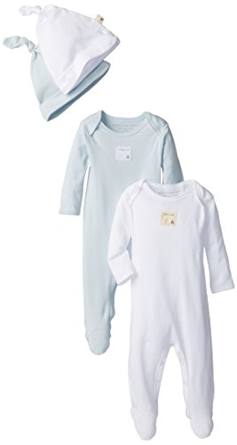 Burt's Bees Baby-Boys Organic Set of 2 Footed Coverall and 2 Caps, Sky, 3 Months