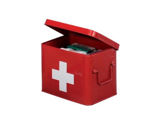 zeller-18115-boite-a-pharmacie-en-metal-rouge-215-x-16-x-16-cm