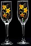 Pair of Champagne Flutes in a Daffodil Design. Handpainted and designed in the UK by Beverley Gallagher, these significant and expressive gifts are ideal for Mother's Day, St David's Day, Easter, 10th wedding anniversaries, Christmas, birthdays and speci
