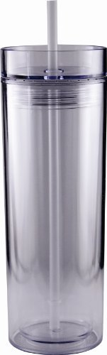 Insulated Plastic 16 oz Drink Cup with Matching Lid and Straw Sports Travel Breeze Tumbler (Clear)