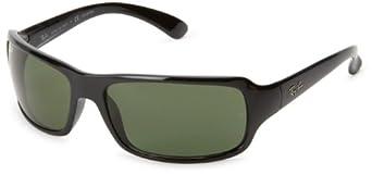 Ray-Ban 4075P Rectangular Wrap Sunglasses,Black Frame/Green Polarized Lens,61 mm