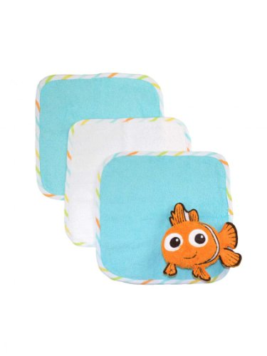 Disney Nemo 3Pk Of Woven Terry Washcloths And A Nemo Wash Pal By Just Born - Blue - Not Applicable front-796514
