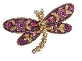 Bejeweled Pink Fuchsia Dragonfly Pin Brooch