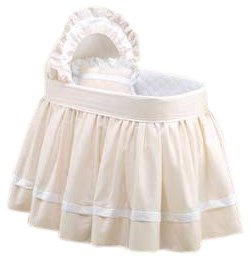 Baby Doll Bedding Regal Pique Bassinet Set, Ecru
