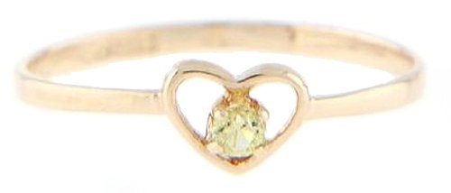 10 Karat Gold August Peridot Cubic Zirconia Child Birthstone Ring Size (3)